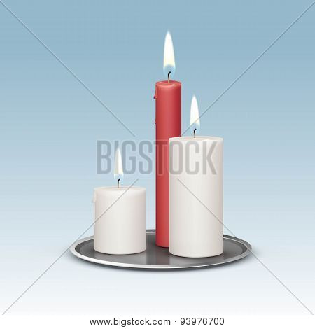 Candles on the Metal Candlesticks Trays