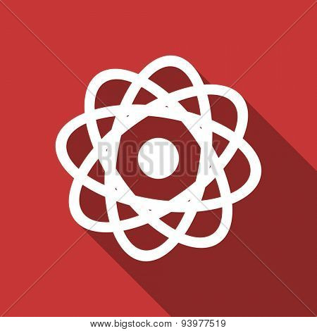 atom flat design modern icon with long shadow for web and mobile app
