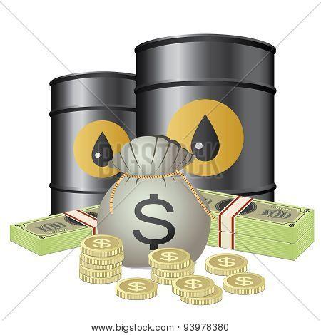 Oil Barrels And Money