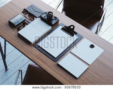 Set of white retro elements on the brown table. 3d render