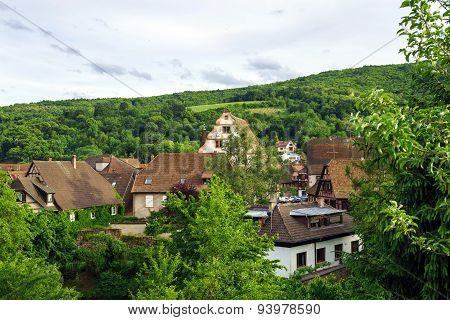Bird-fly Overview To Small Village In Alsace