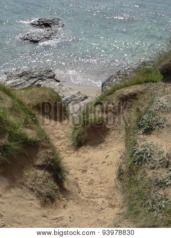 Sandunes And Cliff Pathway Seascape