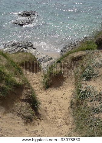 Sandunes And Cliff Pathway Seascape
