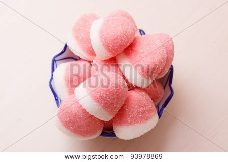 Pink Jellies Or Marshmallows With Sugar In Bowl