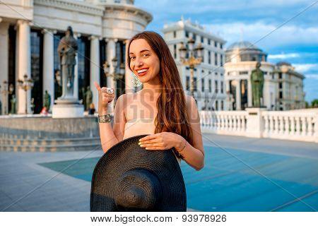 Lady advertising Skopje city center for visiting