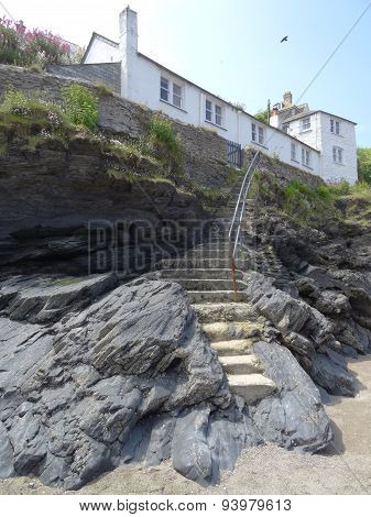 Beach Cliff Pathway Steps Leading To A House