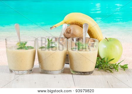 Sorbet Glasses On Tropical Beach