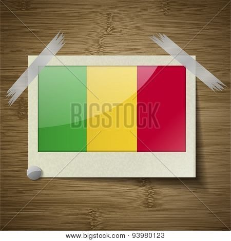 Flags Mali At Frame On Wooden Texture. Vector