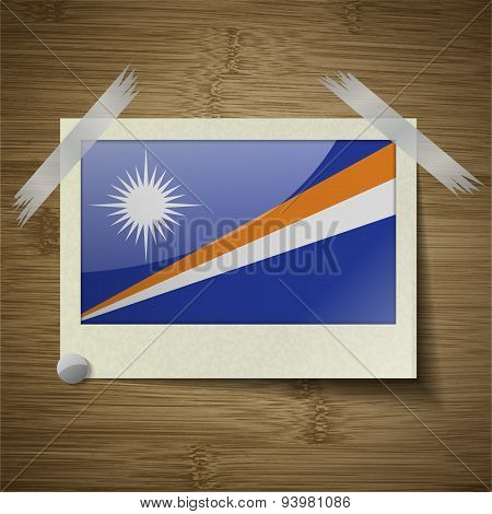 Flags Marshll Islands At Frame On Wooden Texture. Vector