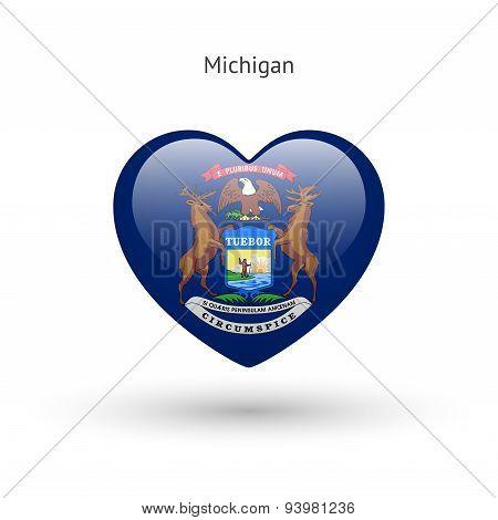 Love Michigan state symbol. Heart flag icon.