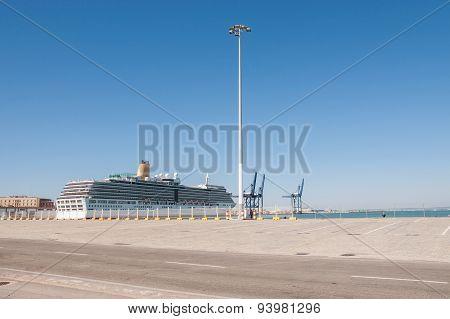 Big Passenger Ship In Cadiz Port