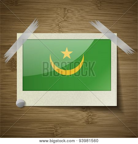 Flags Mauritania At Frame On Wooden Texture. Vector