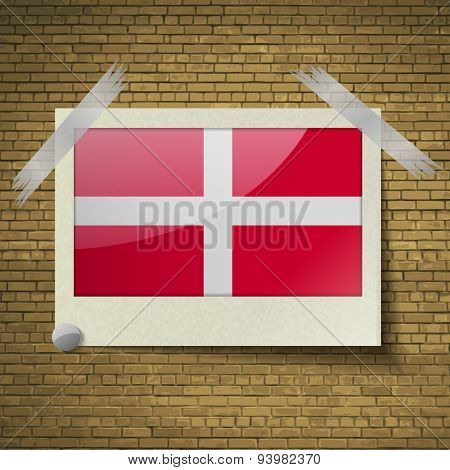 Flags Military Order Malta At Frame On A Brick Background. Vector