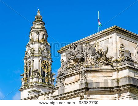 Details Of City Hall Of Cardiff - Wales, Great Britain