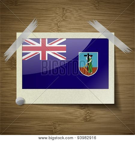 Flags Montserrat At Frame On Wooden Texture. Vector
