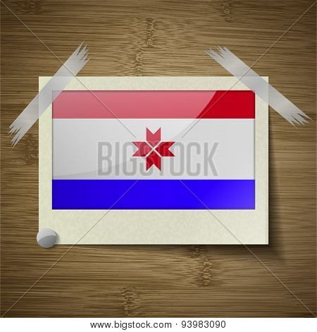 Flags Mordovia At Frame On Wooden Texture. Vector