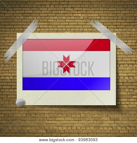 Flags Mordoviaat Frame On A Brick Background. Vector