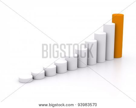 chart success of the cylinders on a white background with orange leader. 3d