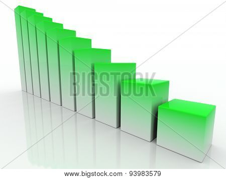 chart success of the green-white cubes on a white background. 3d