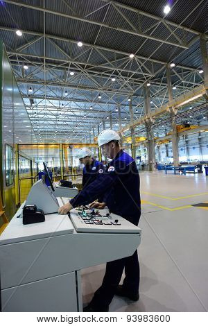 VSEVOLOZHSK, LENINGRAD OBLAST, RUSSIA - JUNE 5, 2015: People at work in the joint enterprise Severstal-SSC-Vsevolozsk. The joint venture of Severstal and Japanese Mitsui was established in 2010