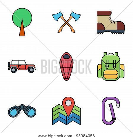 Camping flat vector icon set