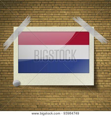 Flags Netherlandsat Frame On A Brick Background. Vector