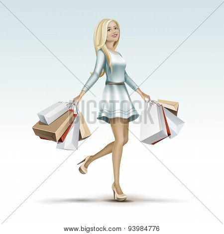 Blonde Woman Girl in Dress with Shopping Bags