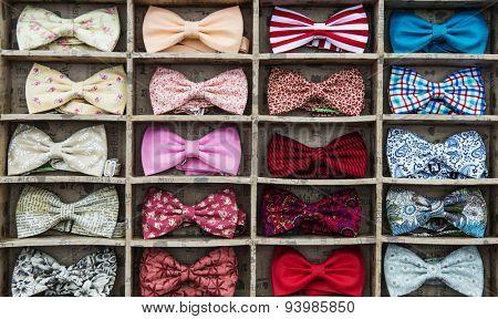 MOSCOW - JUNE 21, 2015: Flea market on the B. Dmitrovskaya street.  Bow tie collection.