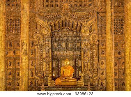 Vintage Shwenandaw Kyaung Temple In Mandalay Historical Park