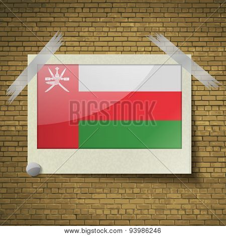 Flags Omanat Frame On A Brick Background. Vector