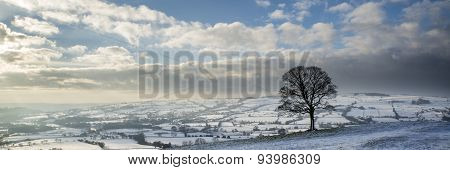 Stunning Winter Panoramic Landscape Snow Covered Countryside With Beautiful Sky And Clouds