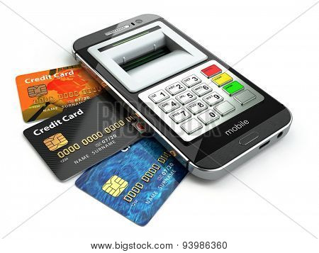Mobile banking concept. Smartphone as ATM and credit cards. 3d