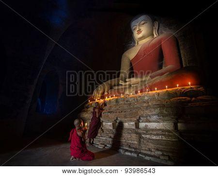 Mini Monk In Meditation Inside Temple In Bagan