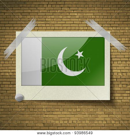 Flags Pakistanat Frame On A Brick Background. Vector