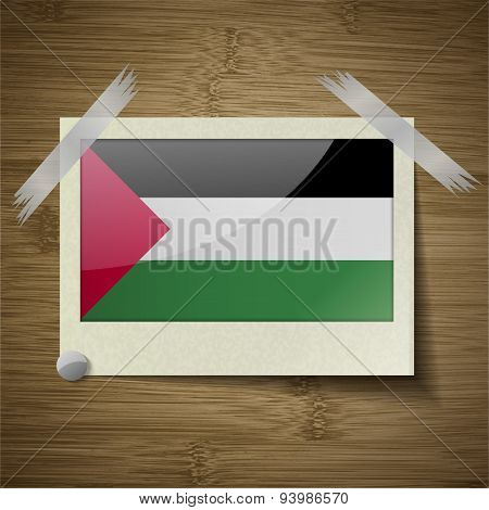 Flags Palestine At Frame On Wooden Texture. Vector