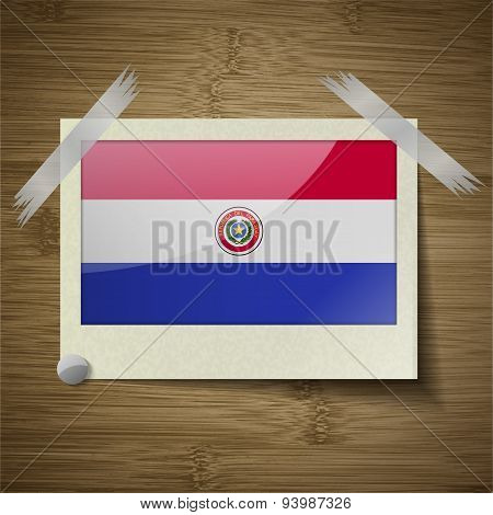 Flags Paraguay At Frame On Wooden Texture. Vector