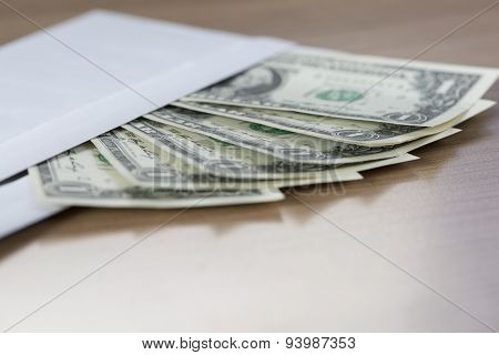 Dollar Notes In An Envelope