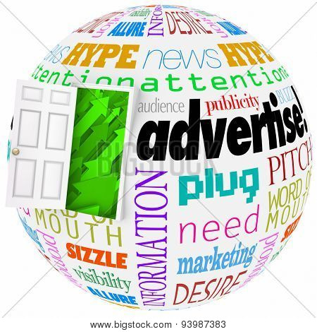 Advertise and related words on a globe or world to illustrate business or company growth in exposure and awareness