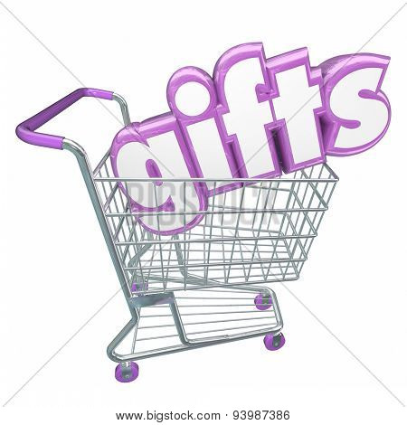 Gifts word in 3d letters in a shopping cart to illustrate a customer buying or choosing merchandise or products at a store or market