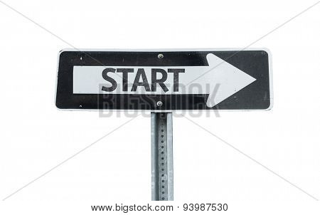 Start direction sign isolated on white