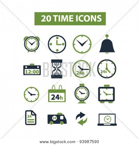 time isolated icons, illustrations, vector