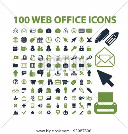 web office, internet, document isolated icons, illustrations, vector
