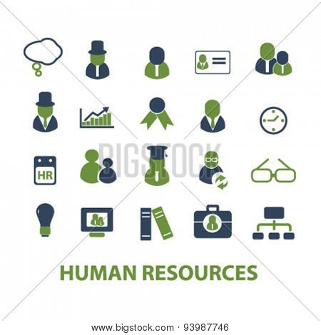 human resources isolated icons, illustrations, vector