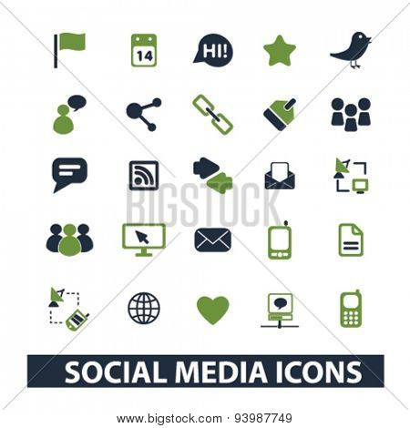social media isolated icons, illustrations, vector