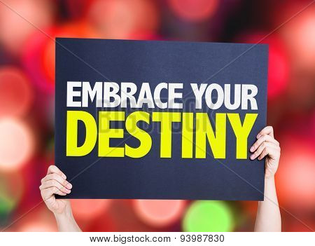 Embrace Your Destiny card with bokeh background