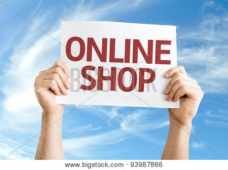 Online Shop card with sky background