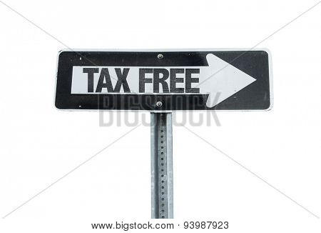 Tax Free direction sign isolated on white