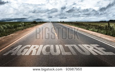 Agriculture written on rural road