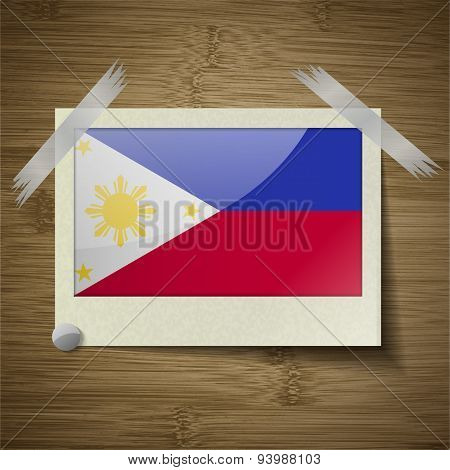 Flags Philippiines At Frame On Wooden Texture. Vector