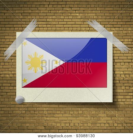 Flags Philippiinesat Frame On A Brick Background. Vector